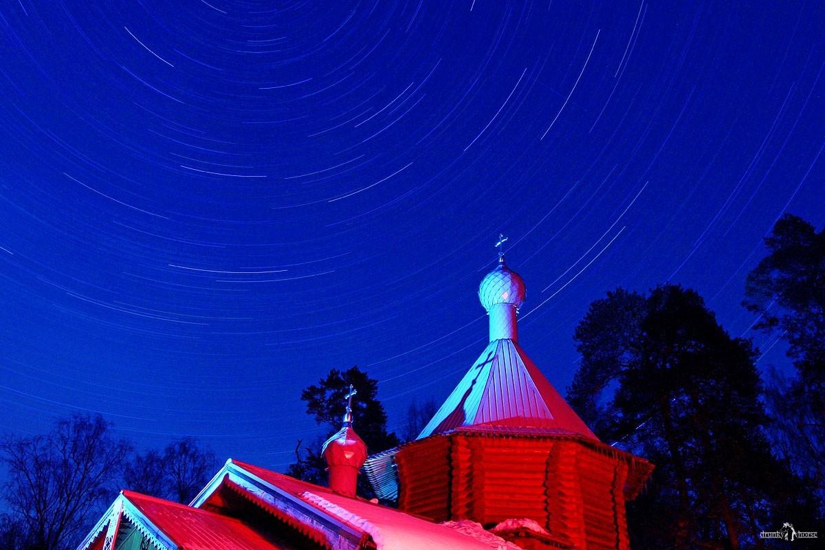 Снять следы от звёзд на ночном небе красиво